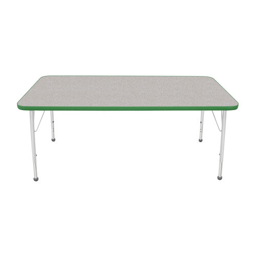Our Adjustable Standard Height Laminate Top Rectangular Activity Table - Nebula Top with Dustin Green Edge and Legs - 60