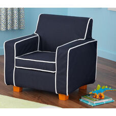 Kids Size Laguna Arm Chair with Contrast Piping and Slip Cover - Navy