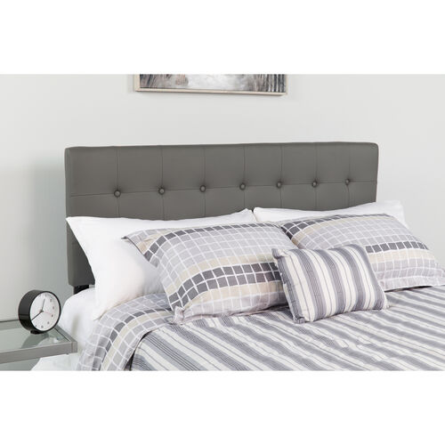 Our Lennox Tufted Upholstered Queen Size Headboard in Gray Vinyl is on sale now.
