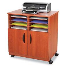 Safco® Laminate Machine Stand w/Sorter Compartments - 28w x 19-3/4d x 30-1/2h - Cherry