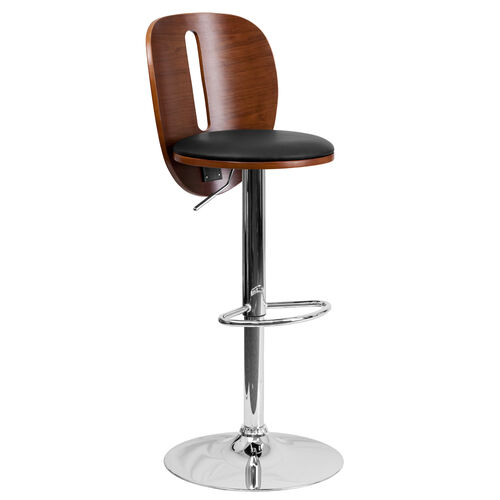 Our Walnut Bentwood Adjustable Height Barstool with Cutout Extended Back and Black Vinyl Seat is on sale now.