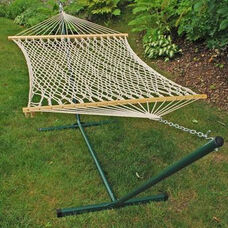 Natural Cotton Rope One Person Hammock with Steel Stand - White