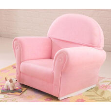 Kids Size Upholstered Velour Arm Chair Rocker with Slipcover - Pink