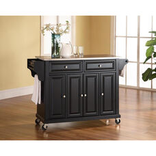 Stainless Steel Top Kitchen Island Cart with Cabinets - Black Finish