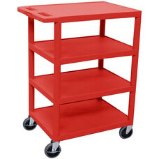 4 Flat Shelf Mobile Structural Foam Plastic Utility Cart - Red - 24