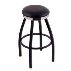 Classic 30'' Black Finish Swivel Counter Height Stool with Black Vinyl and Flat Accent Ring Seat