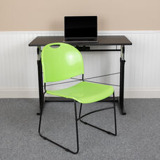 HERCULES Series 880 lb. Capacity Green Ultra-Compact Stack Chair with Black Powder Coated Frame