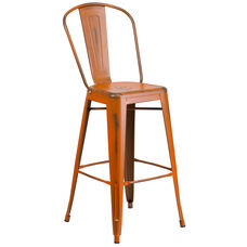 "Commercial Grade 30"" High Distressed Orange Metal Indoor-Outdoor Barstool with Back"