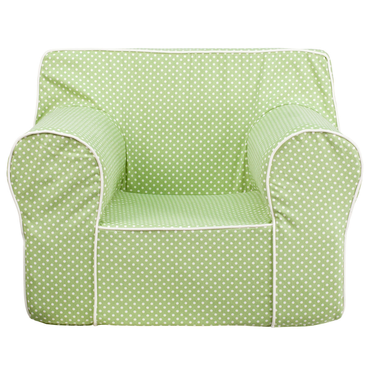 Flash furniture oversized green dot kids chair with white for Oversized kids chair