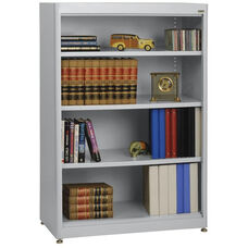 Elite Series 36'' W x 18'' D x 52'' H Four Shelf Welded Radius Edge Stationary Bookcase - Dove Gray