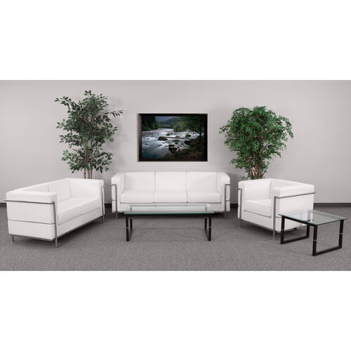 """Our HERCULES Regal Series Reception Set in White LeatherSoft with <span style=""""color:#0000CD;"""">Free </span> Tables is on sale now."""