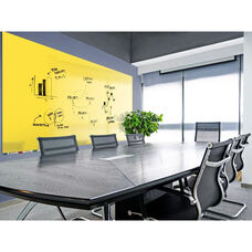 Aria Horizontal Glass Dry Erase Board with 4 Markers and Eraser - Yellow - 96