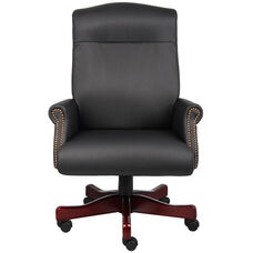 Traditional CaressoftPlus Box Arm Executive Chair with Nail Head Trim - Black