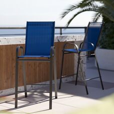 2 Pack Brazos Series Navy Stackable Outdoor Barstools with Flex Comfort Material and Metal Frame
