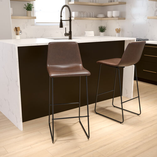 30 inch LeatherSoft Bar Height Barstools, Set of 2