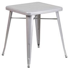 "Commercial Grade 23.75"" Square Silver Metal Indoor-Outdoor Table"