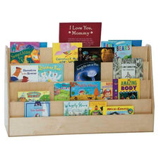 X-Tra Wide Double-Sided Book Display with Four Shelves on Each Side - Assembled - 48