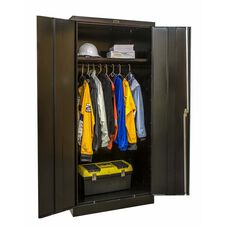 800 Series One Wide Single Tier Double Door Wardrobe Cabinet - Unassembled - Black - 36