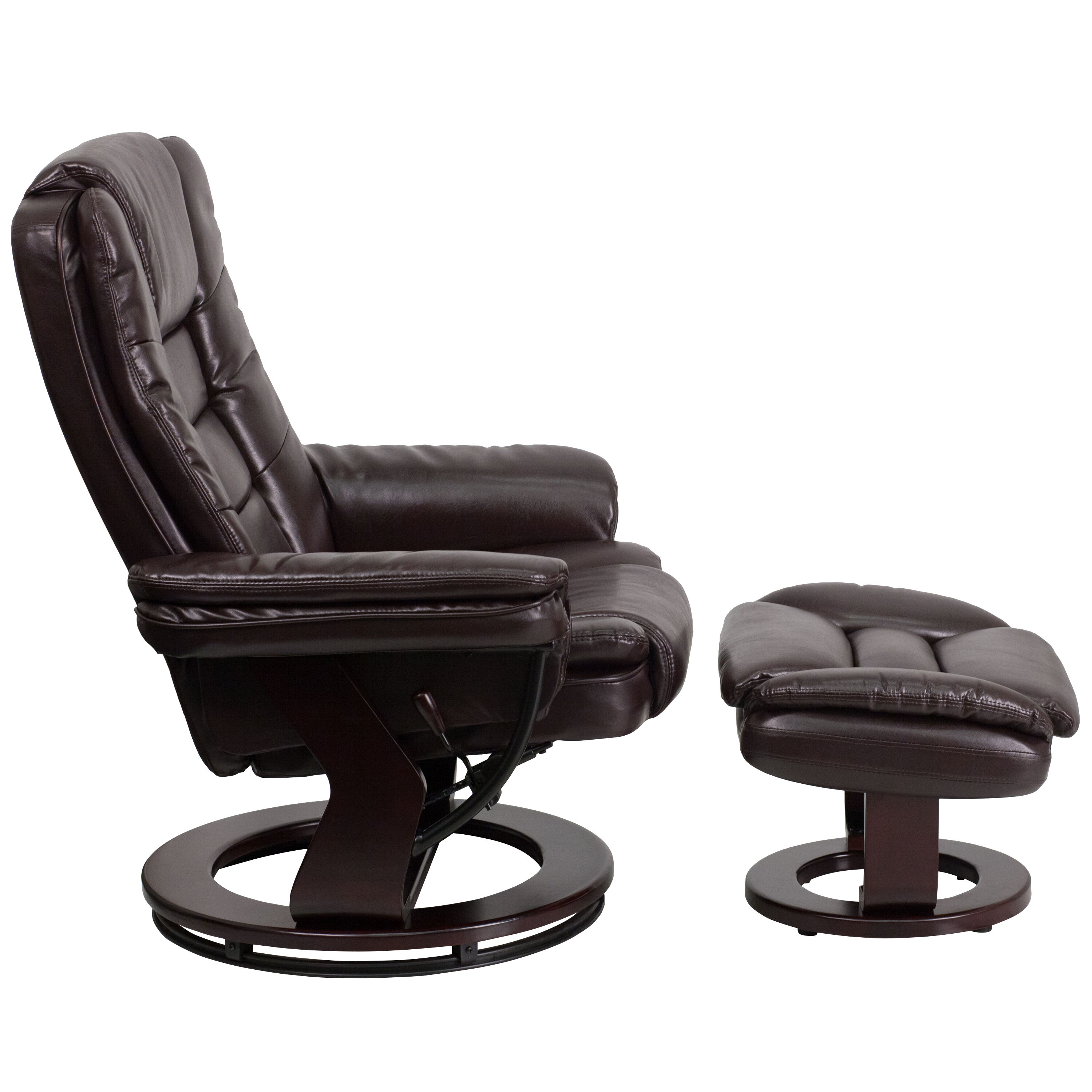 ... Our Contemporary Brown Leather Recliner And Ottoman With Swiveling  Mahogany Wood Base Is On Sale Now ...