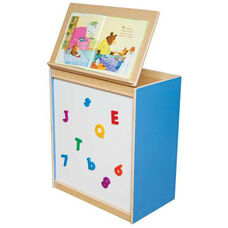 Blueberry Big Book Display and Storage with Locking Piano Hinged Top with Magnetic Marker Board on Front - Assembled - 24