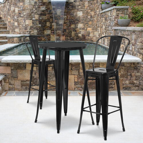 """Commercial Grade 24"""" Round Metal Indoor-Outdoor Bar Table Set with 2 Cafe Stools"""