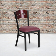 Black Decorative 4 Square Back Metal Restaurant Chair with Mahogany Wood Back & Burgundy Vinyl Seat