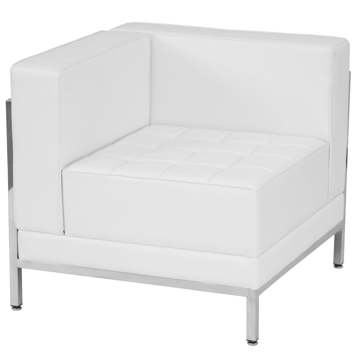 Our Hercules Imagination Series Contemporary Melrose White Leather Left Corner Chair With Encasing Frame Is On