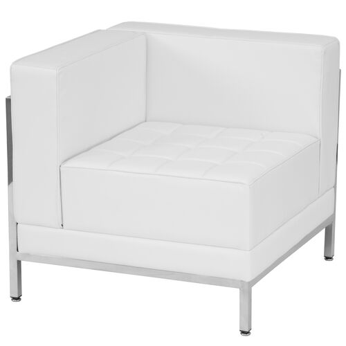 Our HERCULES Imagination Series Contemporary Melrose White Leather Left Corner Chair with Encasing Frame is on sale now.