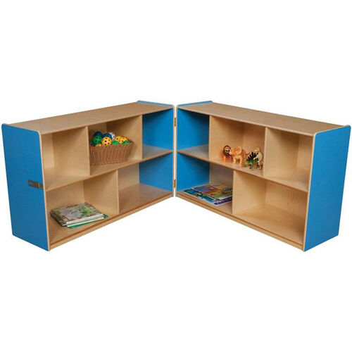 Our Wooden 10 Compartment Double Folding Mobile Storage Unit - Blueberry - 96