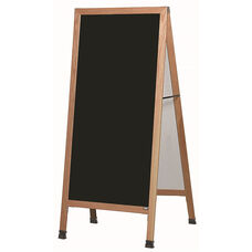 Extra Large A-Frame Sidewalk Board with Black Melamine Marker Board and Clear Lacquer Finished Solid Red Oak Frame - 30