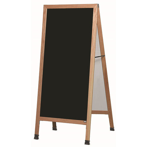 Our Extra Large A-Frame Sidewalk Board with Black Melamine Marker Board and Clear Lacquer Finished Solid Red Oak Frame - 30