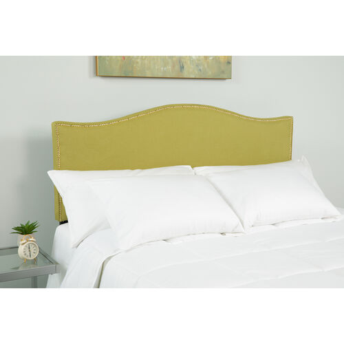 Our Lexington Upholstered King Size Headboard with Accent Nail Trim in Green Fabric is on sale now.