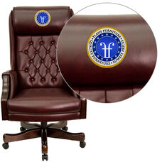 Embroidered High Back Traditional Tufted Burgundy Leather Executive Ergonomic Office Chair with Headrest and Arms
