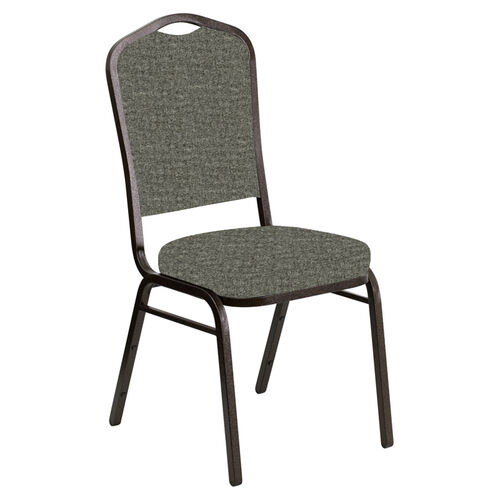 Embroidered Crown Back Banquet Chair in Interweave Slate Fabric - Gold Vein Frame