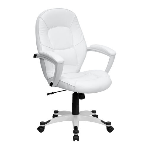 Our Mid-Back White Leather Tapered Back Executive Swivel Office Chair with White Base and Arms is on sale now.