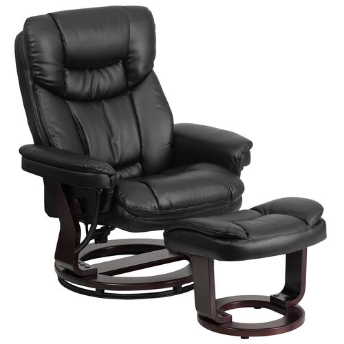 Our Contemporary Leather Recliner and Ottoman with Swiveling Wood Base is on sale now.