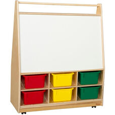 Wooden Book and Art Display Storage Unit with 6 Assorted Plastic Storage Trays - 36