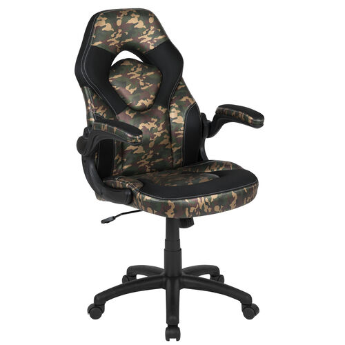 Our BlackArc X10 Gaming Chair Racing Office Ergonomic Computer PC Adjustable Swivel Chair with Flip-up Arms, Camouflage/Black LeatherSoft is on sale now.
