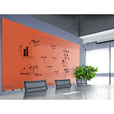 Aria Horizontal Magnetic Glass Dry Erase Board with 4 Markers, Eraser, and 4 Rare Earth Magnets - Peach - 60