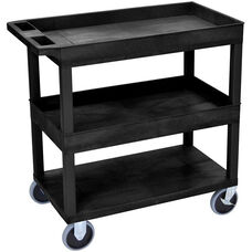Molded Thermoplastic Resin 2 Tub/1 Flat Shelf Utility Cart with 5