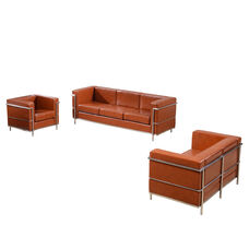 "HERCULES Regal Series Reception Set in Cognac LeatherSoft with <span style=""color:#0000CD;"">Free </span> Tables"