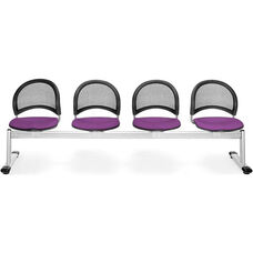 Moon 4-Beam Seating with 4 Fabric Seats - Plum