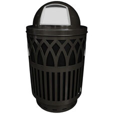 40 Gallon Covington Galvannealed Steel Dome-Top Can with Plastic Liner - Black