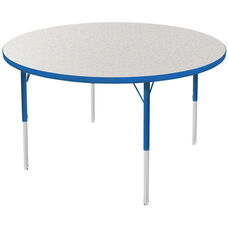 MG Series Kids Height Adjustable Round Activity Table - Gray Glace Top with Blue Edge and Legs - 42