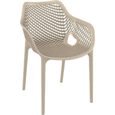 Air XL Modern Resin Outdoor Dining Arm Chair - Dove Gray