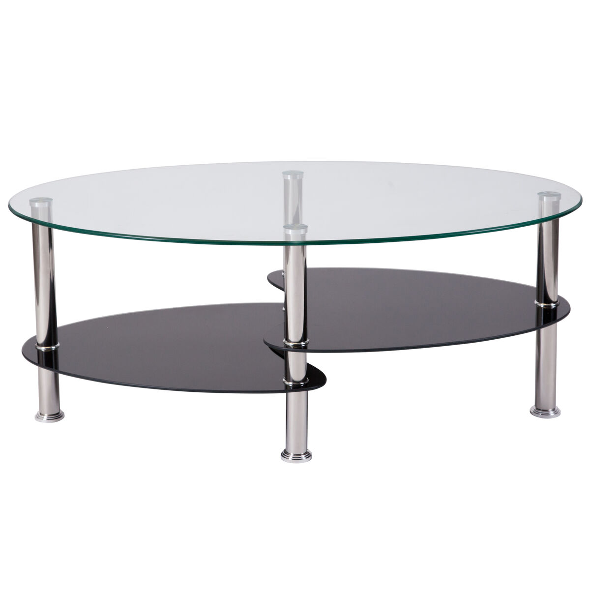 Our Hampden Glass Coffee Table With Black Shelves And Stainless Steel Legs Is On