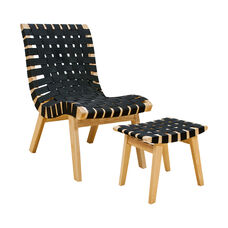 Simplistic Woven Black Strap Lounge Chair with Ottoman