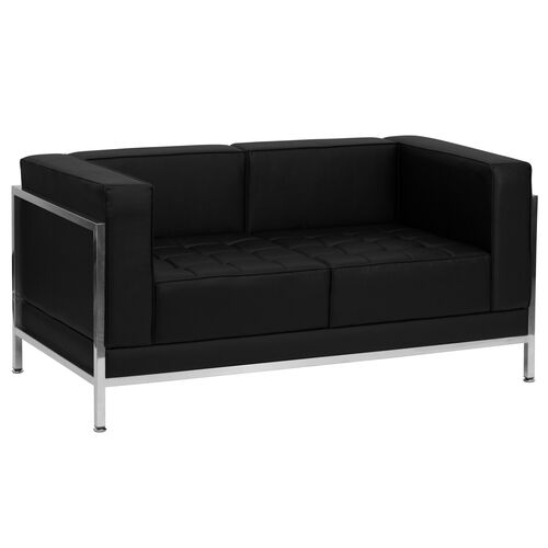 Our HERCULES Imagination Series Contemporary Black Leather Loveseat with Encasing Frame is on sale now.