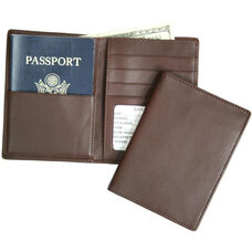 RFID Blocking Passport Currency Wallet - Top Grain Nappa Leather - Coco
