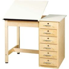 Split Top Drawing and Drafting Table with 6 Drawers